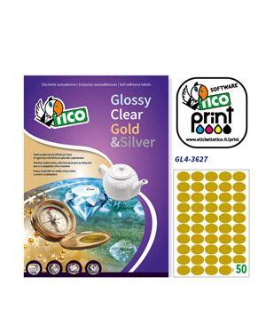 Etichetta adesiva gl4 ovale oro satinata 100fg a4 36x27mm (50et/fg) tico GL4-3627