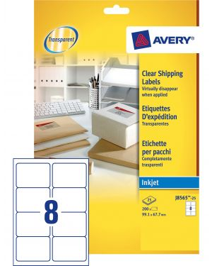 Poliestere adesivo J8565 trasparente 25fg A4 99,1x67,7mm (14et/fg) inkjet Avery CONFEZIONE DA 5 J8565-25 by Avery