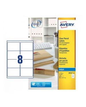 Poliestere adesivo j8565 trasparente 25fg a4 99,1x67,7mm (14et - fg) inkjet avery J8565-25 5014702011412 J8565-25