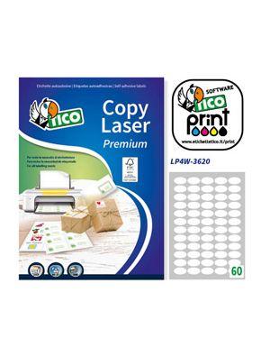 Etichetta adesiva lp4w bianca ovale 100fg a4 36x20mm (60et - fg) laser tico LP4W-3620 8007827192026 LP4W-3620