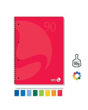 Quaderno a5 163x210mm spiralato 90gr 60fg 4fori microperf. 1rigo colors bm 105339 71199 A 105339 by Bm