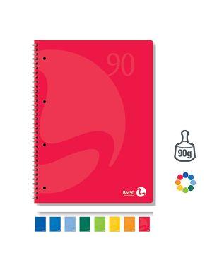 Quaderno a5 163x210mm spiralato 90gr 60fg 4fori microperf. 1rigo colors bm 105339 71199 A 105339