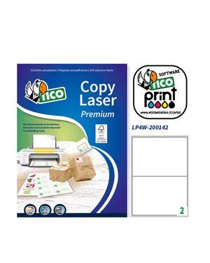 Etichetta adesiva lp4w bianca 100fg a4 200x142mm (2et - fg) laser tico LP4W-200142 8007827290340 LP4W-200142
