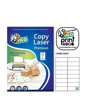 Etichetta adesiva lp4w bianca 100fg a4 99,1x34mm (16et - fg) laser tico LP4W-9934 8007827290494 LP4W-9934