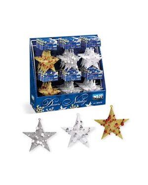 """Espositore con 36 appendini natalizi glitterati """"stars"""" 60419"""