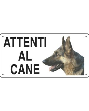 Cartello alluminio 25x12,5cm 'attenti al cane'' 8505