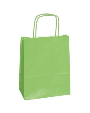 25 shoppers carta kraft 18x8x24cm twisted verde mela 72093 8029307072093 72093 by Cartabianca