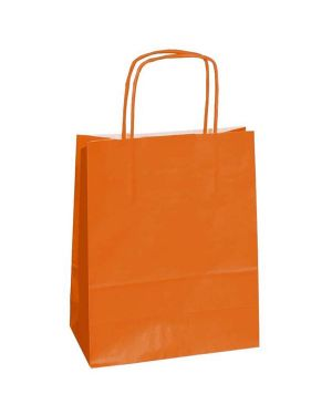 25 shoppers carta kraft 18x8x24cm twisted arancione 72079 8029307072079 72079 by Cartabianca