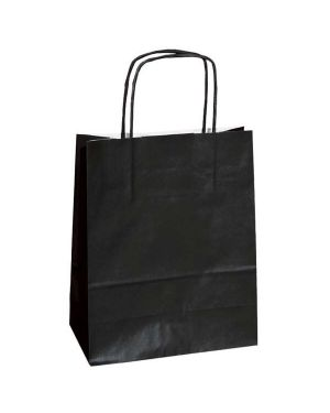 25 shoppers carta kraft 18x8x24cm twisted nero 72123 8029307072123 72123 by Cartabianca