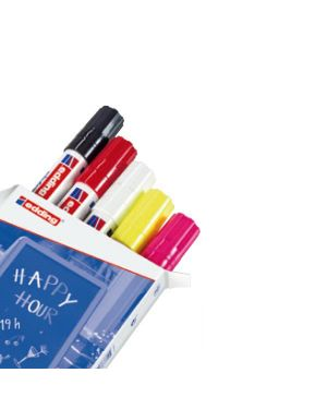 Astuccio 5 marcatori edding 4090 punta scalpello gesso liquido colori fluo - std 4-4090 999 4004764916849 4-4090 999 by Edding