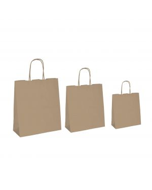 25 shoppers carta biokraft 26x11x34,5cm neutro cordino avana 67051 8029307067051 67051 by Cartabianca