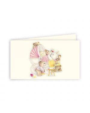 Bigliettino bomboniera personalizzabili battesimo rosa kartos CONFEZIONE DA 100 OD17123002S5