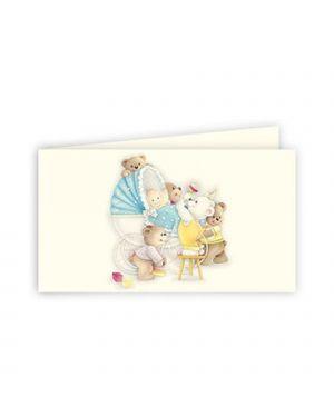 Bigliettino bomboniera personalizzabili battesimo azzurro kartos CONFEZIONE DA 100 OD17123001S5