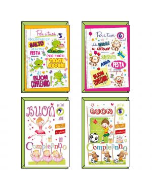 Biglietto auguri bambini c/disco 4 soggetti assortiti kartos CONFEZIONE DA 12 7544802