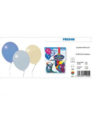 Busta 20 palloncini metal colori assortiti pegaso PB034M