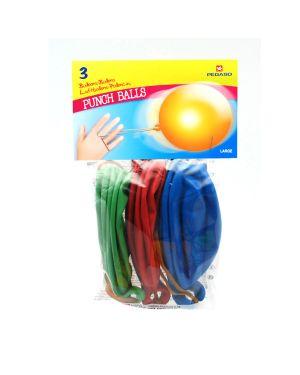 Busta 3 palloncini punch ball c - impugnatura in gomma colori assortiti pegaso PB100/07  PB100/07
