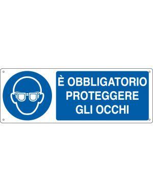 """CARTELLO ALLUMINIO 35x12,5cm 'E' obligatorio proteggere gli occhi"""" E1901K"""