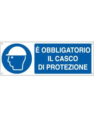 """CARTELLO ALLUMINIO 35x12,5cm 'E' obligatorio il casco di protezione"""" E1902K"""