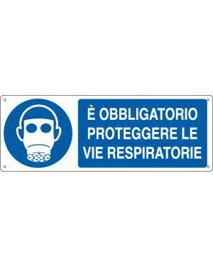 Cartello alluminio 35x12,5cm 'e' obligatorio proteggere le vie respiratorie&#34 E1903K
