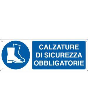 """CARTELLO ALLUMINIO 35x12,5cm 'Calzatura di sicurezza obbligatoria"""" E1905K"""