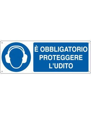 """CARTELLO ALLUMINIO 35x12,5cm 'E' obligatorio proteggere l'udito"""" E1906K"""