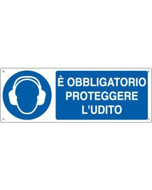 Cartello alluminio 35x12,5cm 'e' obligatorio proteggere l'udito&#34 E1906K 8798170619062 E1906K