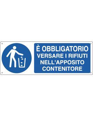CARTELLO ALLUMINIO 35x12,5cm 'E' obbligatorio versare i rifiuti...' E1946K