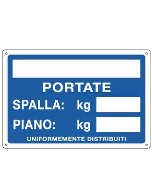CARTELLO ALLUMINIO 30x20cm 'Portate: Spalla / Piano' 3130