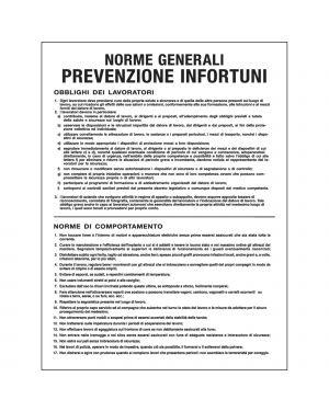 CARTELLO POLIONDA 50x67cm 'Norme generali prevenzione infortuni' PO5031