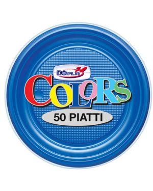 Piatti plastica frutta diametro 17,5 pz.50 blu DOPLA 1660 8008650016411 1660
