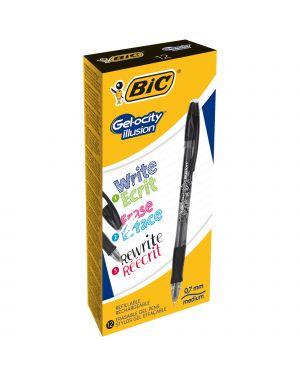 Scatola 12 penna sfera gel cancellabile gelocity illusion 0,7mm nero bic 943441 3086123460126 943441