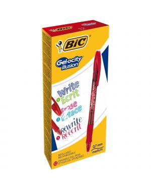 Scatola 12 penna sfera gel cancellabile gelocity illusion 0,7mm rosso bic 943442 3086123460133 943442
