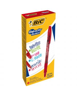 Scatola 12 penna sfera gel cancellabile gelocity illusion 0,7mm rosso bic 943442 3086123460133 943442 by Bic