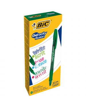 Scatola 12 penna sfera gel cancellabile gelocity illusion 0,7mm verde bic 943443 3086123460140 943443 by Bic