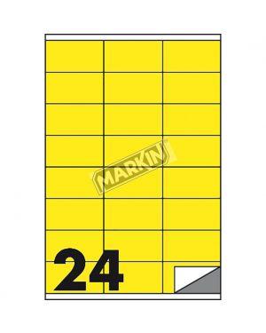 Etichetta adesiva c/500 giallo fluo 100fg a4 70x36mm (24et/fg) markin X210C500F-GI