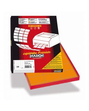 Etichetta adesiva c - 500 arancio fluo 100fg a4 70x36mm (24et - fg) markin X210C500F-AR  X210C500F-AR