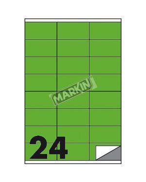 Etichetta adesiva c - 500 verde fluo 100fg a4 70x36mm (24et - fg) markin X210C500F-VE  X210C500F-VE