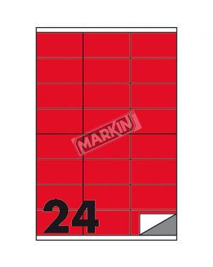 Etichetta adesiva c - 500 rosso fluo 100fg a4 70x36mm (24et - fg) markin X210C500F-RO  X210C500F-RO