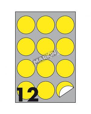 Etichetta adesiva r - 310 giallo fluo 100fg a4 tonda Ø60mm (12et - fg) markin X210R310F-GI 8007047051165 X210R310F-GI