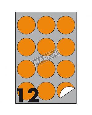Etichetta adesiva r - 310 arancio fluo 100fg a4 tonda Ø60mm (12et - fg) markin X210R310F-AR 8007047051172 X210R310F-AR