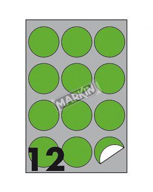 Etichetta adesiva r - 310 verde fluo 100fg a4 tonda Ø60mm (12et - fg) markin X210R310F-VE  X210R310F-VE