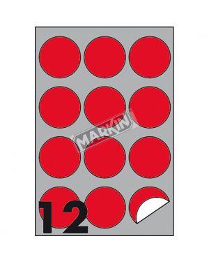 Etichetta adesiva r - 310 rosso fluo 100fg a4 tonda Ø60mm (12et - fg) markin X210R310F-RO 8007047051288 X210R310F-RO