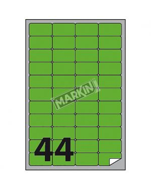 Etichetta adesiva a - 406 verde fluo 100fg a4 47,5x25,5mm (44et - fg) markin X210A406F-VE  X210A406F-VE