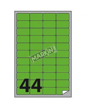 Etichetta adesiva a - 406 verde fluo 100fg a4 47,5x25,5mm (44et - fg) markin X210A406F-VE 8007047051226 X210A406F-VE