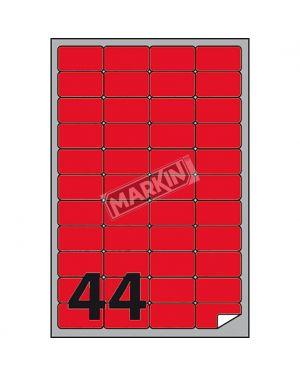 Etichetta adesiva a - 406 rosso fluo 100fg a4 47,5x25,5mm (44et - fg) markin X210A406F-RO 8007047051233 X210A406F-RO