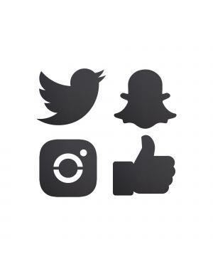 Set 4 LAVAGNETTE ICONE 'Social Media' SILHOUETTE Securit FB-SM4