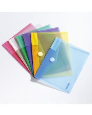 Set 6 buste pp con velcro 25x13,5cm colori assortiti B510279 3377995102796 B510279