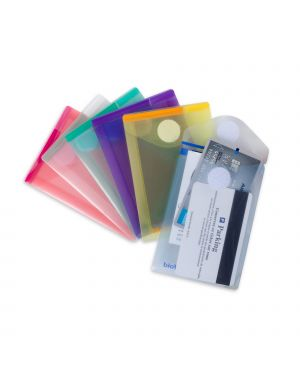Set 6 buste pp con velcro f.to verticali 8x11.5cm colori assortiti B510219 3377995102192 B510219
