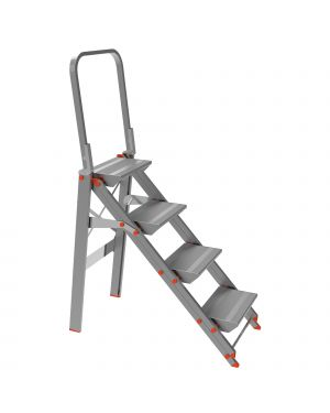 Scala sgabello alluminio 4 gradini con parapetto class piu&#39 20524 8021227005175 20524