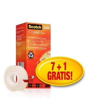 Value Pack 7+1 Nastri adesivi 19mmx33m Scotch Crystal Clear 600 94074 by Scotch
